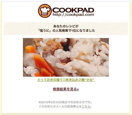 クックパッド あなたのレシピが人気検索で1位になりました  tooru19 gmail com  Gmail