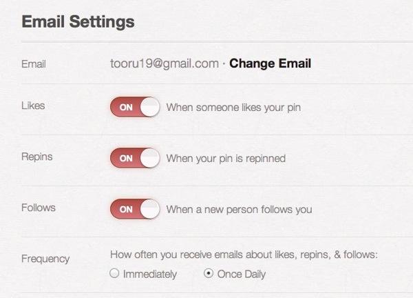 Pinterest  Email Settings