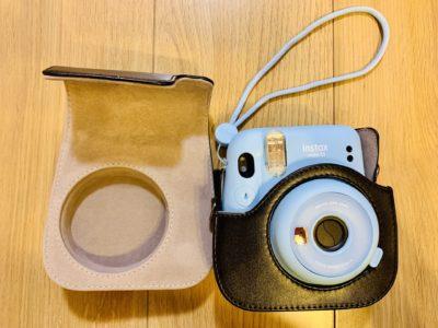 kinokoo Fujifilm チェキ instax mini 11 ケース instax mini 11 カメラケース ショルダーストラップ付き チェキフォトステッカー付き(チャコールグレイ)
