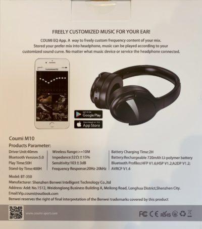 COUMI M10 ワイヤレス ヘッドホン オーバーイヤー型 Bluetooth5.0 最大50 時間連続再生 QCC3034チップ採用 CVC8.0 通話ノイズキャンセリング カスタマEQアプリ aptX/aptX HD/AAC対応 マイク内蔵 ブルートゥースヘッドフォン BT-350