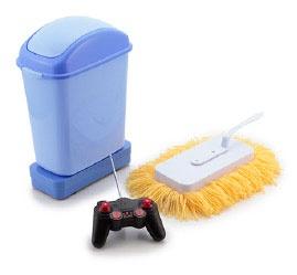 究極に怠けて掃除しようぜ!モップとゴミ箱をリモコン操作!